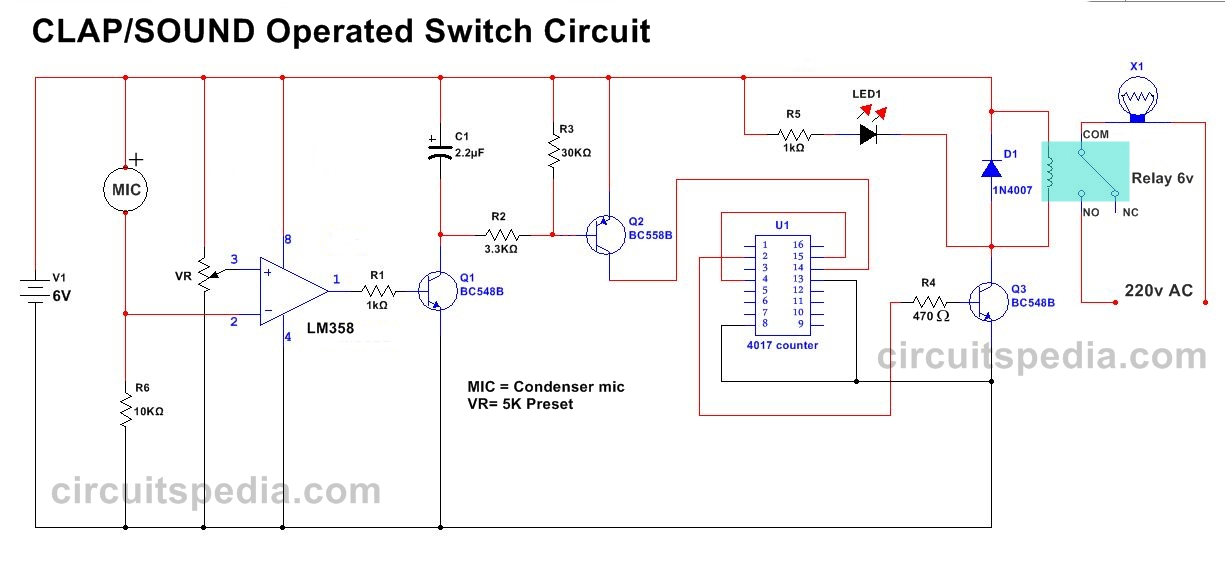 Clap Switch Circuit Electronic Project Using 555 Timer - Projects Q ...